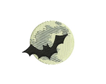 Halloween Moon and Bat embroidery design. 3 sizes. Instant download.