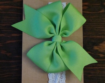 Baby Headband, Green Bow, Baby Girl Accessories, Lace Headband