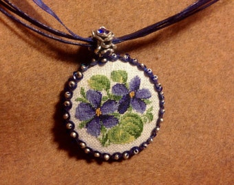 Embroidered necklace. Flower pendant. Pendant with Petit Point Embroidery. Jewelry Gift for women.