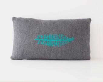 Handmade Merino wool dark grey fern leaf motif knitted cushion