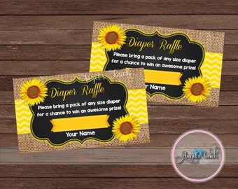 Sunflowers Diaper Raffle Ticket, Diaper Raffle Ticket, Sunflowers Baby Shower, Instant Download, Digital File.