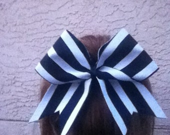 Black and white striped cheer bow!