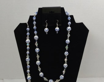 Blue and White floral Jewelry Set