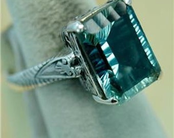 Size 9.5 #0084 Color Change Alexandrite Victorian Style 925 Silver Ring MT703