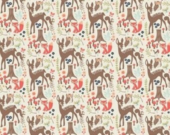 Cotton Fabric, Woodland Spring Fabric, Half of a Metre, Quilt Fabric, Deer Fabric