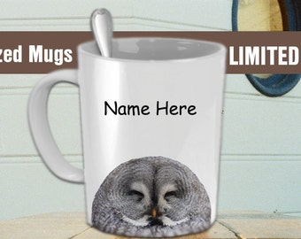 Customizable Coffee Mug - Sleeping Owl - Put Your Name On - White 11 oz