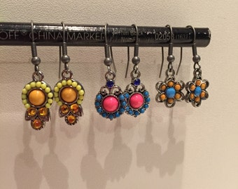 Silver and beaded drop earrings - 3 pairs!