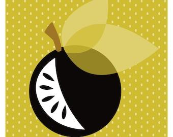 Black Apple & Mustard Dot Art Print