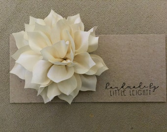Ivory floral hair clip - 3.5in