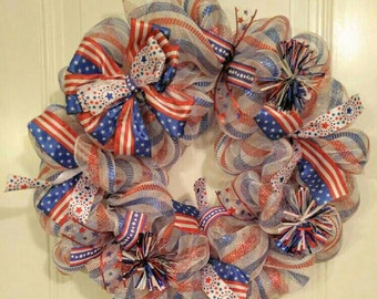 4th of July Mesh Wreath Patriotic Mesh Wreath Red, White, and Blue Wreath