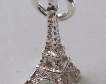 Genuine SOLID 925 STERLING SILVER 3D Eiffel Tower France Paris  charm/pendant