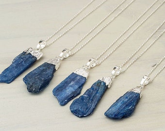 Kyanite Necklace Blue Pendant Raw stone Gift for her Crystal Necklace Gold Raw Kyanite Gift women Gold Dipped Sterling silver