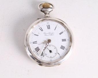 Vintage Old Edouard Quartier Chaux-de-Fonds Silver Pocket Watch.