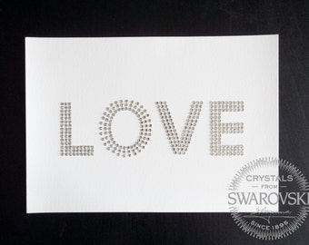 Handcrafted LOVE sign with genuine SWAROVSKI© crystals