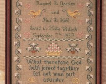 Margaret & Margaret ** Wedding Sampler** Vintage Cross Stitch Sampler by Margaret McKee with verse from Mark 10:9