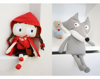 Red riding hood doll & Big bad wolf doll set / Fabric doll / Rag doll / Handmade doll / nursery decor / baby shower gift