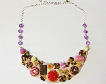 popular items for pink cake necklace on etsy
