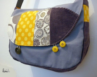 Shoulder or shoulder bag in grey and yellow cotton