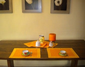 Americana breakfast Orange linen placemat