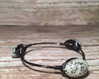 Black & White Speckled - Wire Wrapped Bangle
