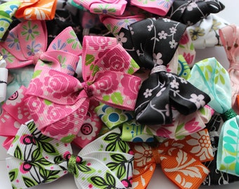 Handmade Bow Hair Clips- Floral Collection