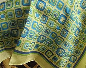 Retro 60s scarf geometric green blue yellow silk satin vintage.