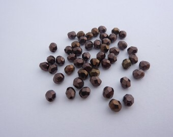 4mm Fire Polished Beads Metallic Coated Vintage Bronze x 50