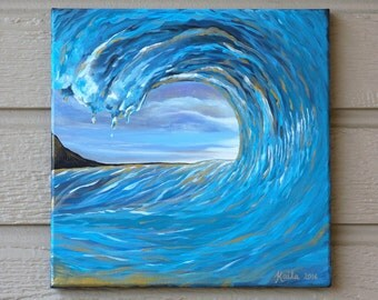 Golden Wave Painting, 12x12 Acrylic Painting on Canvas