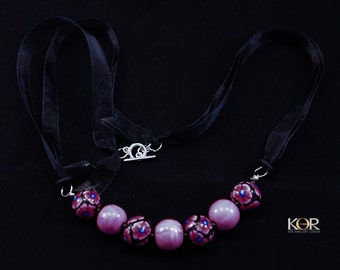 Rose Pink Flowery & Marble Bead Necklace