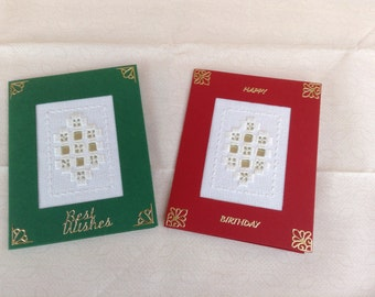 HANDMADE HARDANGER CARD. Set of two red and green