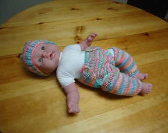 Rainbow hat, leg warmers and diaper cover