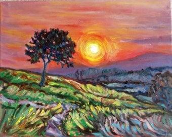 "Original Oil Painting, Sunset mountain-Canada landscape, 1610143, 16""x20"""