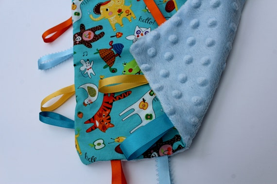 New Baby Gifts Uk Delivery : Baby taggie blanket new gift animals zoo made in