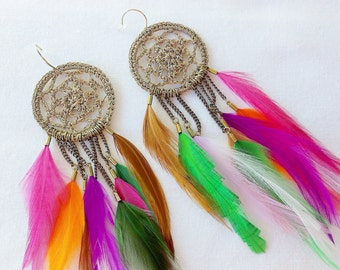 EARRINGS ROSE FEATHER