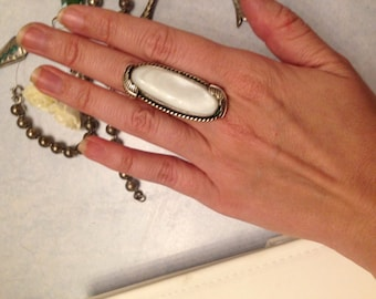 Oversize mother of pearl silver ring