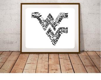 WVU Print 8x10 | Morgantown | WV | home decor | WVU Alumni | Mountaineer | Unique Gift |