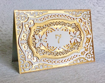 7th Anniversary Card - Copper Foil Luxury Anniversary Greeting Card with Swarovski Crystals