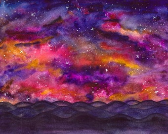 Original galaxy art , galaxy painting , colorful art  , original watercolor , original artwork , universe painting , outer space , watercolo