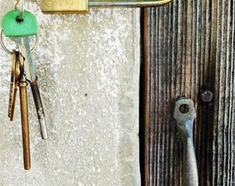 Modern padlocks and door old...