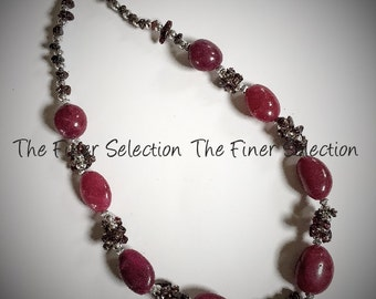 glass beaded necklace in burgundy and brown color