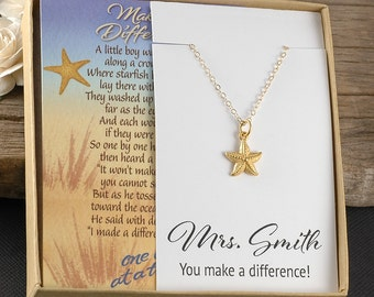 Teacher Gift, starfish necklace, Making a Difference, personalized name of teacher, poem card, boxed gift ready to give, gold starfish