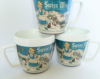 Vintage Swiss miss hot chocolate or coffee thermal mugs from WestBend Thermo-Serv insulated cups 1970s