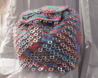 Multi-Color PopTab Backpack- Up Cycled Back Pack- Crocheted Backpack