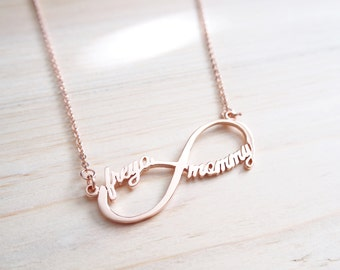 20% OFF + FREE SHIP Infinity Name Necklace - Custom Name Necklace - Infinity Necklace - Initials Necklace - Sister Necklace/ Friendship Gift