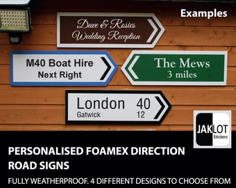 Personalised Road Sign, Wedding Sign Custom LARGE ARROW