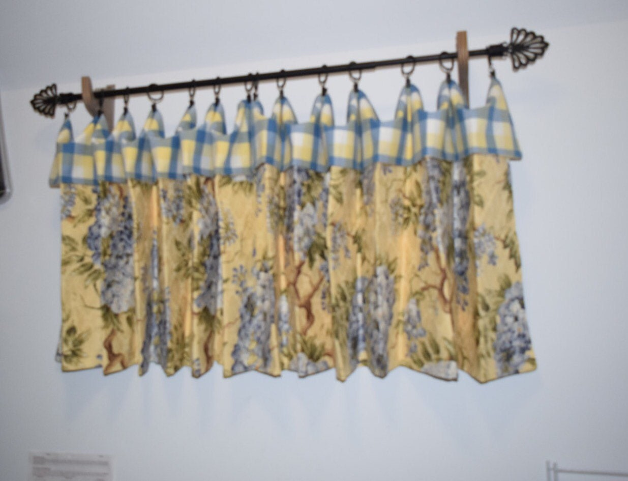 Valance Cafe Curtains Yellow And Blue Floral And Matching