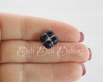 Small Matte Black Glass Vintage Button with Rhinestone Center G101