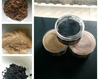 Natural Mineral Eye Shadow Trio Black Gold Brown