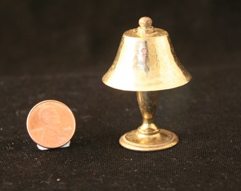 Miniature Brass Table Lamp with Brass Shade