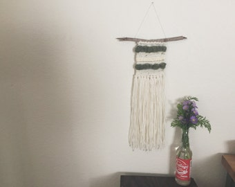 Woven Wall Hanging / Olive, Cream & Gold